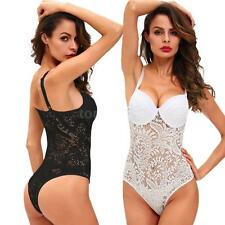 Women Semi-sheer Mesh Lace Bodysuit Overalls Lingerie Sleepwear Nightwear I1X0