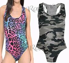 New Womens Ladies Army Printed Muscle Racer Back Sleeveless Bodysuit Leotard Top