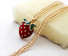 14k Gold Plated Strawberry Fruit Berry Necklace Pendant Chain in Gift Bag/Box