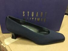 Stuart Weitzman Women's Resutton Navy Crepe Fabric Low Heel Pump