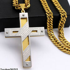 6mm Mens Chain Silver Gold Tone Stainless Steel PENDANT NECKLACE 18-36inch Hot