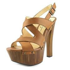 Jessica Simpson Damelo Women  Open Toe Leather Brown Platform Sandal NWOB
