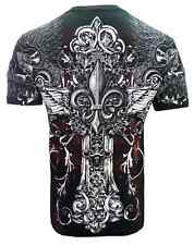 CROSSES FOREVER T SHIRT FALLEN ANGEL MEN'S MMA TATTOO DESIGNER WEAR ALL SIZES