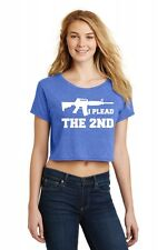 I Plead The 2nd Ladies Crop Top Shirt Second Amendment PRO 2A Gun Rights AR15 Z7