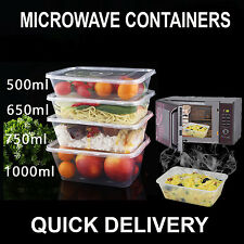 PLASTIC MICROWAVE CONTAINERS CLEAR TUBS  LIDS SMALL LARGE TAKEAWAY FOOD SAFE