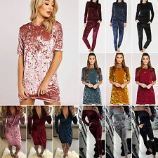 Womens Casual Tops Mini Dress Jumpsuit Ladies Loose Crushed Velvet Tracksuit New