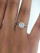 1.0 ct Round Cut Diamond Solitaire Engagement Ring 14K Solid White Gold