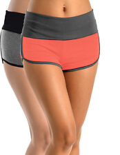 Two-Tone Performance Yoga Shorts w/ Foldover Waistband