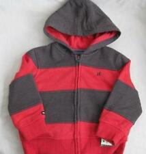 HURLEY boys Large 16 18 red gray striped hoodie sweatshirt zip up jacket NEW