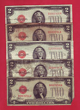 1928 Red Seal 2$ Legal Tender Notes - Lot Of 5 - 10$ Face Value (P698)