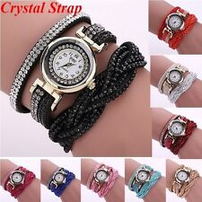 Womens Bling Rhinestone Dress Bracelet Wrist Watch Leather Strap Quartz Fashion