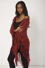 ONE SIZE Hand Knitted Multi Coloured Shawl Red Women's Ladies Fashion Spring UK