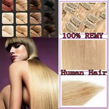 US Lowest Price Clip In Hair Extensions 100% Human Hair Full Head Remy 8PCS II06