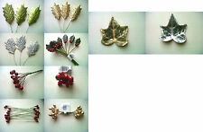 Christmas berries holly berry pick ivy leaf wreath tree garland card cake craft