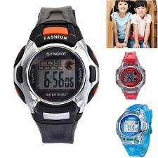 Child's Boy Girl Sports Bracelet Bangle LED Digital PU Band Quartz Wrist Watches