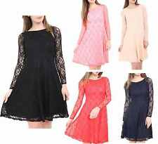 New Womens Ladies Lace Floral Long Sleeve Flared Skater Dress Plus Size UK 8-18