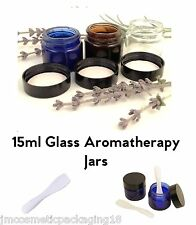 15ml Glass Jar Black Lid - Blue/Clear/Amber - Aromatherapy Lip Balm Container