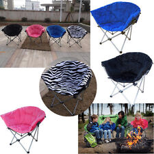 Folding Oversized Padded Moon Round Saucer Club Chair Outdoor Camping 4 Colors