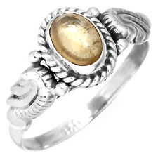925 Sterling Silver Fashion Jewelry Natural Citrine Gemstone Ring Size O kz11108