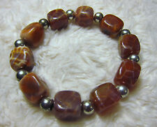 Natural Red Fire Crab Agate Beads Bracelets - Unisex.