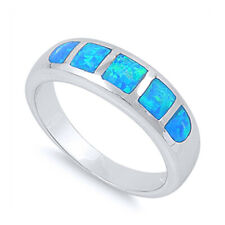 Fine Women 6mm 925 Sterling Silver Simulated Blue Opal Band Ladies Ring Band