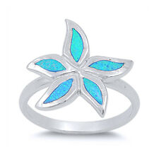 Fine Women 17mm 925 Sterling Silver Simulate Blue Opal Starfish Ladies Ring Band
