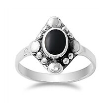 Fine Men 15mm 925 Sterling Silver Simulated Black Onyx Vintage Style Ring Band