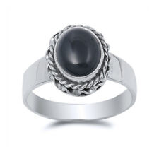 Fine Women 14mm 925 Sterling Silver Oval Simulated Black Onyx Cocktail Ring Band