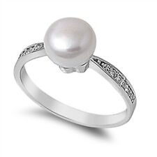 Fine Women 8mm 925 Sterling Silver Freshwater Cultured Pearl CZ Ladies Ring Band