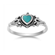 Fine Women 8mm 925 Silver Simulated Turquoise Vintage Heart Promise Ring Band