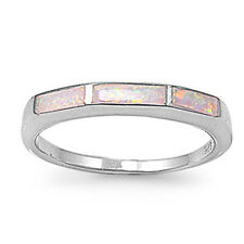 Fine Women 3mm 925 Sterling Silver Simulated Pink Opal Ladies Ring Band