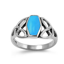 Fine Men Women 11mm Sterling Silver Simulated Turquoise Celtic Knot Ring Band