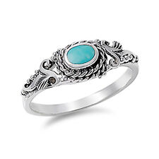 Fine Women 8mm 925 Sterling Silver Simulated Turquoise Vintage Style Ring Band
