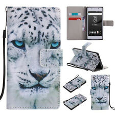 White Leopard Painting Flip Cover Stand Wallet PU Leather Case For All Models