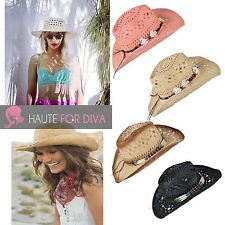 LADIES STRAW BEACH COWBOY SHELL SUMMER BONNET HAT SEASIDE FESTIVAL WEAVED WICKER