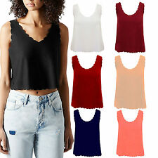 WOMEN LADIES CREPE PLAIN SCALLOP EDGE HEM LOOK TOP SLEEVELESS CAMI VEST TOPS