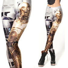 Womens Robot Digital Printed Pants Leggings Polyester Stretchy Trousers Skinny