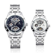 New Silver Skeleton Analog Mens Mechanical Automatic Wrist Steel Band Watch