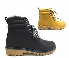 LADIES GIRLS NEW DESERT FUR LINED WALKING ANKLE BOOTS LACE UP TRAINER SHOES