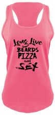 Long Live Pizza Beards Sex Funny Ladies Tank Top Rude Humor College Party Z6
