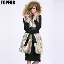 New Real Genuine Rabbit Fur Vest Gilet Waistcoat Raccoon Hoody Coat Jacket V0047