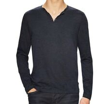John Varvatos Star USA Men's Burnout Eyelet Henley LS Shirt Blue $128 msrp NWT