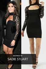 LADIES GIRLS CHOKER CUT OUT NECK LACE SLEEVES BODYCON MINI FITTED BLACK DRESS