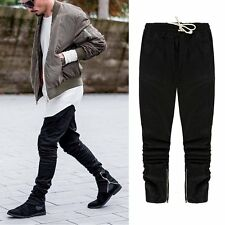 Casual Pants Justin Kanye Side Zipper Slim Skinny Jeans Sweatpants Moto Bikers