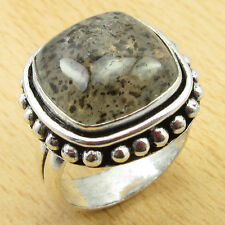 925 Sterling Silver Overlay MOSS AGATE Size UK R 1/2 Ring Gift WHOLESALE PRICE