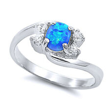 Women 9mm 925 Sterling Silver Blue Opal Bypass Ladies Vintage Style Ring Band