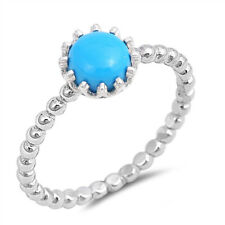 Women 8mm 925 Sterling Silver Turquoise Stackable Vintage Style Ring Band