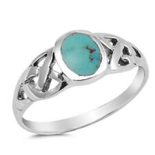 Men Women 8mm 925 Silver Simulated Turquoise Celtic Knot Vintage Style Ring Band