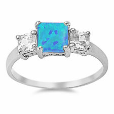 Women 7mm 925 Silver Square Blue Opal Princess CZ Vintage Style Ring Band