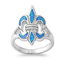 Women 22mm 925 Sterling Silver Blue Opal Fleur De Lis Vintage Style Ring Band